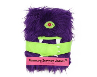 Nightmare Snatcher children's monster dream journal, furry purple monster book Hugmitten