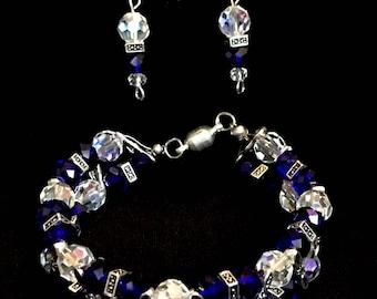 Bracelet & Earrings saphire blue. A62