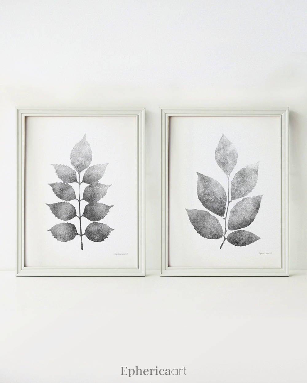 Black And White Kitchen Artwork: Leaves Art Black And White Prints Kitchen Wall Art Grey