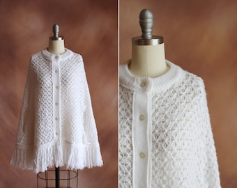 vintage 1970's white boho crocheted fringe poncho sweater cape / size os