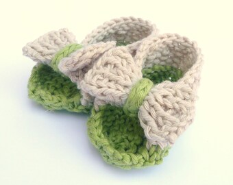 INSTANT DOWNLOAD Digital Knitting Pattern BABY Booties Baby Bow Sandals Shoes