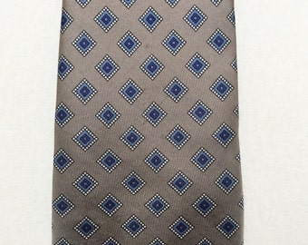 Vintage 1960s John Wanamaker Grey & Blue Silk Tie