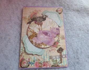 Map theme 'vintage floral' embossed