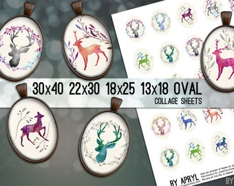 Digital Collage Sheet Oval Watercolor Deer Buck Doe 30x40 22x30 18x25 13x18  Oval Digital Collage Images for Glass Resin Pendants Cameo