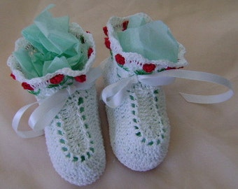 Crocheted White Booties with Red Tulips on the Cuff