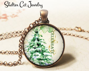 "Celebrate Christmas Tree Necklace - 1-1/4"" Circle Pendant or Key Ring - Wearable Photo Art Jewelry - Winter Artwork, Holiday, Christmas Gift"