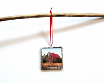 Old barn ornament, Christmas ornament, red barn, rustic country farm home decor, barn photo ornament, miniature scenery, stained glass
