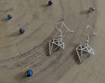 Metal Silver Diamond Charm Earring