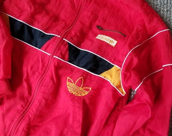 Red vintage 90s ADIDAS track suit, large 42-44
