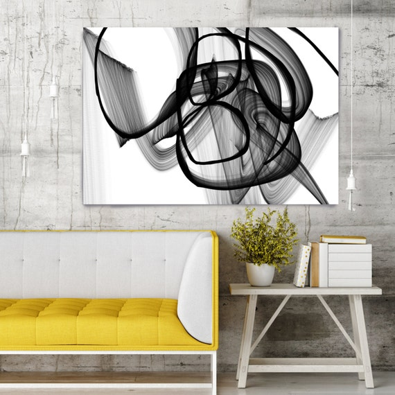 """Birth of the Day. Contemporary Abstract Black and White, Unique Wall Decor, Large Contemporary Canvas Art Print up to 72"""" by Irena Orlov"""