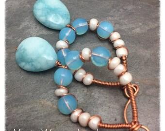 Larimer Blue Jade Tear Drop Copper Wire Wrap Hoop Dangle Earrings