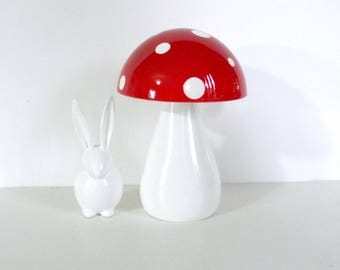 Trippy Toadstool - Wooden Mushroom - Red with White polka dots