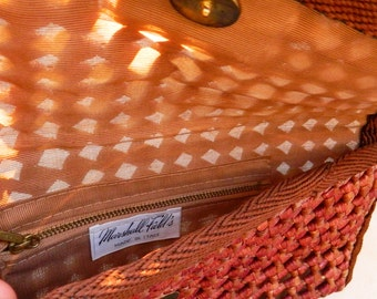 Vintage Italian Woven Clutch Purse / Vintage Marshall Fields Boho Purse / Woven Resort Clutch in Chocolate Brown / Vintage Boho Purse