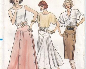 1987 Misses Skirt Pattern, Vogue 9851 A, Size 6-8-10