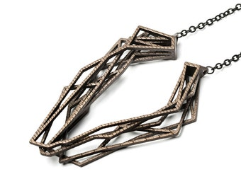 bronze geometric necklace, 3D printed jewelry, statement necklace, steampunk necklace for men and women, structural necklace