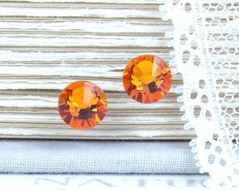 Orange Studs Crystal Stud Earrings Rhinestone Studs Orange Stud Earrings Surgical Steel Studs