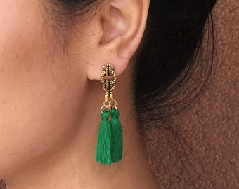 Green Tassel Earrings, Boho green earrings, green drop earrings, green statement earrings, casual tassel earrings