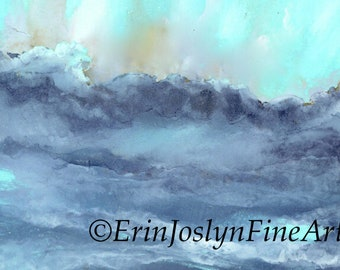 Limited Edition signed and numbered Giclee Print BLUE WAVE - alcohol ink painting by Erin Joslyn