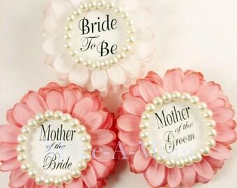 3 Rose Pink Bridal Shower Corsage , Bridal shower favors,hAND dYED Corsage, wedding,rOSEtTRIO,Lt.& rose,PEARL,bTB,mOTG,mOTB