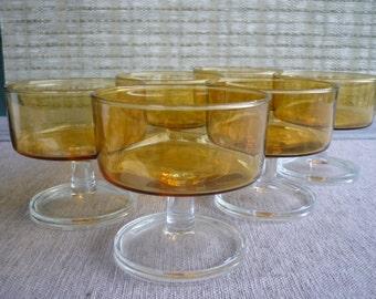 Vintage Amber Glass Dessert Dishes, Sorbet Bowl, Set of 6, Luminarc, France