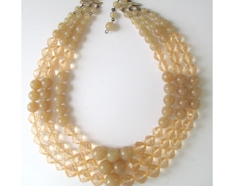 BEAD NECKLACE  * Triple Strand * West Germany