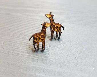 Giraffe Earrings | Laser Cut Jewelry | Hypoallergenic Studs | Wood Earrings