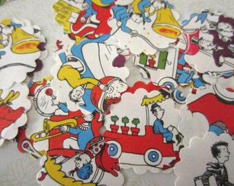 Scalloped Round Die Cuts Vintage Children's Book Dr Seuss Mulberry Street Book