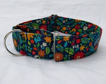 Country Floral Adjustable Buckle-Martingale Dog Collar-Small-Large Breed Dog-1 inch 1.5 -2 inch width-Traffic-Dog Leash