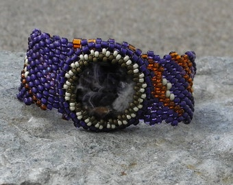 Free Form Peyote Stitch Beaded Bracelet Beaded Cuff Beaded Cabochon - Bead Weaving - Discounted