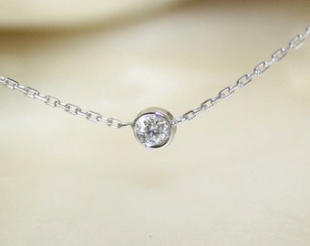Solitaire diamond and 18k white gold necklace, Bezel set diamond necklace, Bezel diamond pendant, Bride necklace