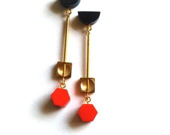 Statement Geometric Earrings Brass Modern Minimalist Red Navy Long Studs FREE UK SHIPPING