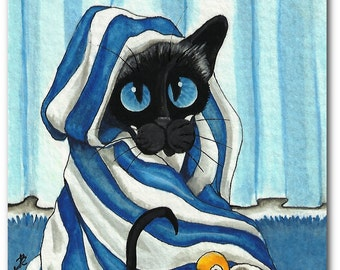 Siamese Cat Wrapped in Bath Towel Rubber Duck - ArT Print by Bihrle ck308