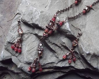 Pink fire polished glass and antiqued copper chain necklace and earring set