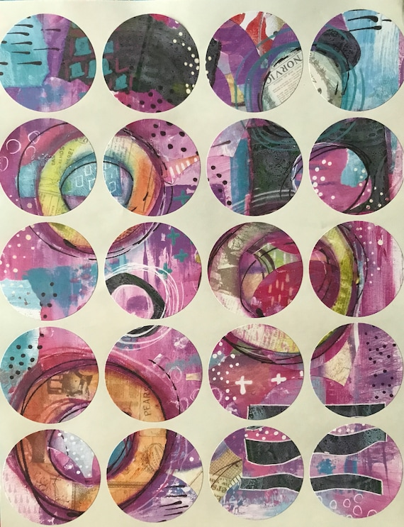 Abstract Art Stickers Round Labels Original Art Mixed Media Stickers Art Supply FREE SHIPPING