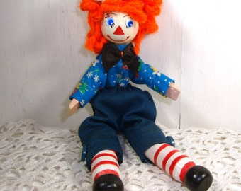 Vintage Raggedy Andy Clothespin Doll, Handcrafted Art Doll, Handmade, Red Hair, Jointed Legs, Kitschy  (275-15)