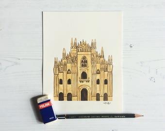 Milan Duomo Original Illustration