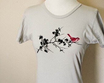 Silver Sakura and Red Bird Crew Neck Top XL