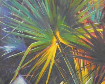 Tropical Landscape Giclee Canvas Print, Palmetto Print, Sunlight Print, Free Shipping, Choose Your Size, No Frame Needed, Ready to Hang