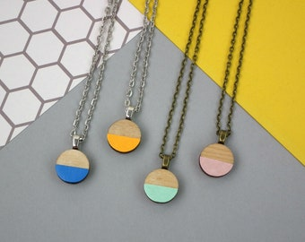 Geometric Necklace - Circle Wooden Jewellery - Sustainable Fashion - Eco Jewellery - Pastel Necklace - Birthday Gift - Jewellery Gift