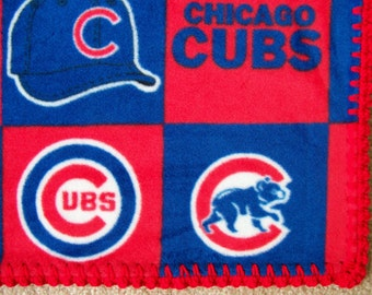 CHICAGO CUBS Baby Blanket, Fleece with Hand Crocheted Edging