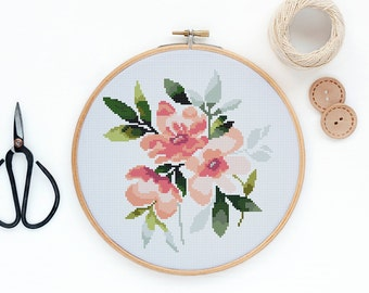 Peonies - Modern watercolor flowers cross stitch pattern PDF - Instant download