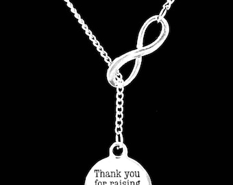 Mother Of The Groom Gift, Thank You For Raising The Man Of My Dreams Necklace, Gift Mother In Law Wedding Party Infinity Lariat Necklace