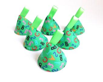 Green ABC / 123,  Pee Pee TeePees x 6 // Sprinkling Wee Wee Wigwam // Baby Shower, Gift Idea. Newborn Boy.