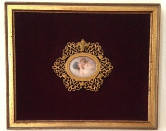 1800's Hand-Painted Porcelain  Plaque w/ Cherubs, Gilded Bronze Filigree Accents, Gilded Wooden Frame