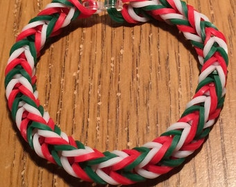 Christmas Fishtail Rainbow Loom Rubber Bracelet
