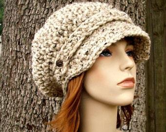 Crochet Hat Womens Hat Oatmeal Newsboy Hat Slouchy Hat - Crochet Newsboy Hat in Oatmeal Crochet Hat - Oatmeal Hat Womens Accessories