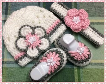 Crocheted Flower Bonnet, Baby Crocheted Booties, Crocheted Baby Shoes, Crocheted Baby Headband Set...Makes An Adorable Baby Shower Gift!!
