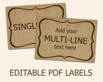 Editable labels craft paper tags labels for mason jars Editable printable labels Editable tags Editable PDF printable diy labels