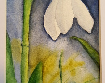 """Original watercolor, """"Snowdrop"""""""