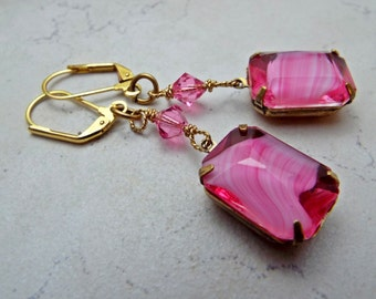 Earrings Pink Givre Glass and Crystal Hot Pink and Gold